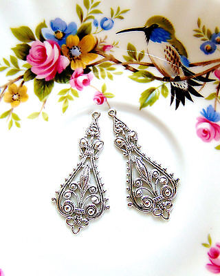 CLOSEOUT ANTIQUE SILVER (2 Pieces) Gypsy Boho Earring Filigree Stamping (E-784)