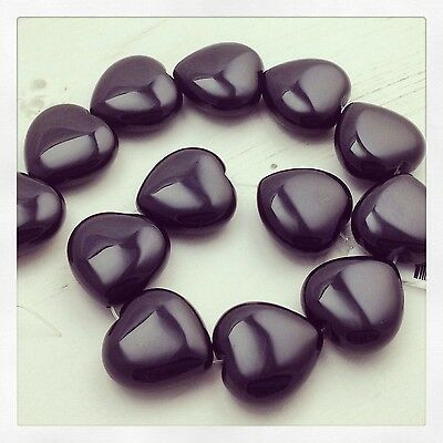 Black Onyx Beads, Heart Shaped, String of 13, Brand New.