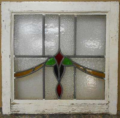 "OLD ENGLISH LEADED STAINED GLASS WINDOW Colorful Swag 20.25"" x 19.5"""