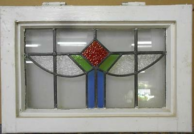"OLD ENGLISH LEADED STAINED GLASS WINDOW Abstract Swag 21.25"" x 14.5"""