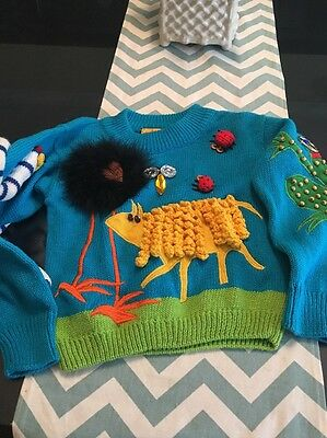 Amazing Farm Zoo Animal theme child's sweater Vintage WEE SPREE size 5M