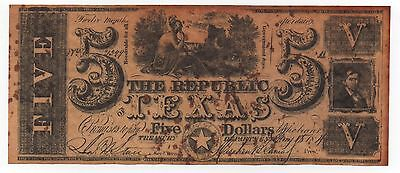 The Republic Texas 5 Dollars Copy Fake Note Look Scans