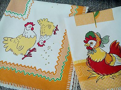 2 vintage 1980s Easter tablecloth /traycloth chicken hen vgc chick cotton