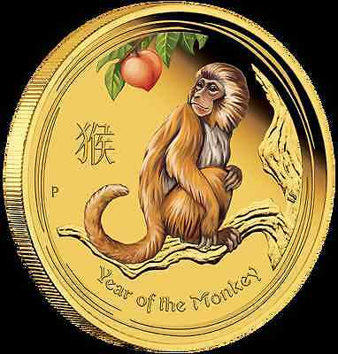 2016 $15 Australian Lunar Series Monkey 1/10 oz gold proof coloured coin