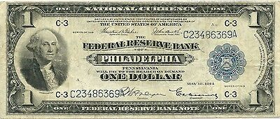 1918 $1 Federal Reserve Bank Note ~ Spread Eagle Type ~ Nice Problem-Fee Grade