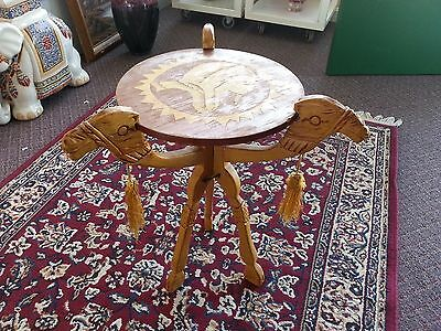 Vintage Carved Wooden Camel Head Table Top folds Up 3-legged w/ Center Piece