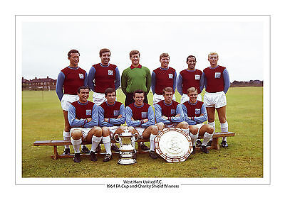 1964 Fa Cup Charity Shield Photo West Ham United A4 Print Photo Trophy