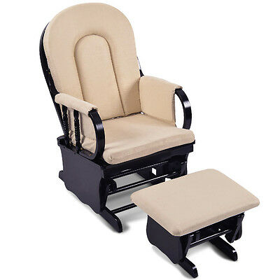 Baby Breast Feeding Sliding Glider Chair with Ottoman Beige