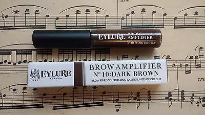 Eylure Brow Amplifier No 10 Dark Brown Eyebrow Fibre Gel BNIB 3ml