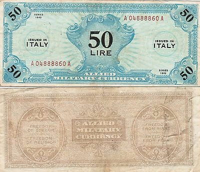 50 Lire Issued In Italy Series 1943 Allied Military Currency