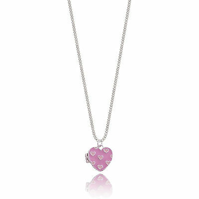Joma Jewellery Girls LUCY LOCKET KIDS pink heart silver plated necklace & bag