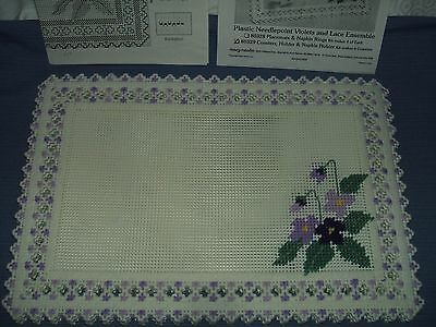 """SET OF 4 PLASTIC NEEDLEWORK PLACEMATS WITH VIOLETS-EXC-NEW OLD STOCK-12""""x18"""""""
