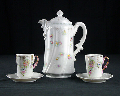 Antique German Chocolate Set Late 19th C, Pot, Pot Cups & Saucers, Hand-Painted