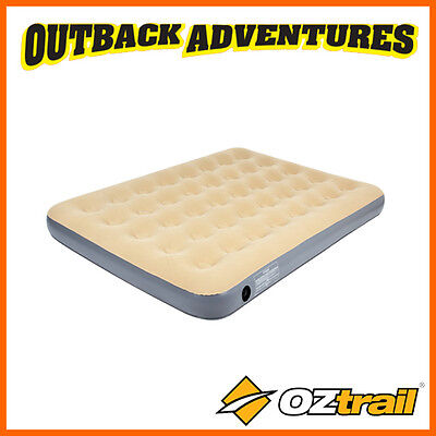 Oztrail Double Inflatable Velour Air Bed Camping Mat Mattress Camp Sleeping