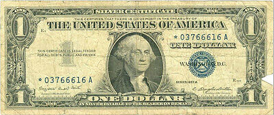 1957 United States $1 Silver Certificate  **Star Note**   #296