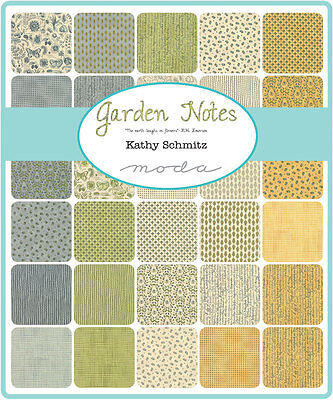 Patchwork/quilting Fabric Moda Charm Squares/packs - Garden Notes