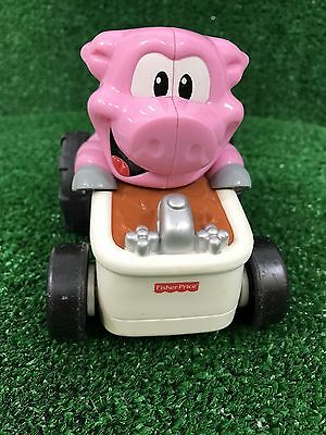 Vintage 06 Fisher Price Pig Tub Shake Go Motorized Car Toy Music Sounds Race Fun