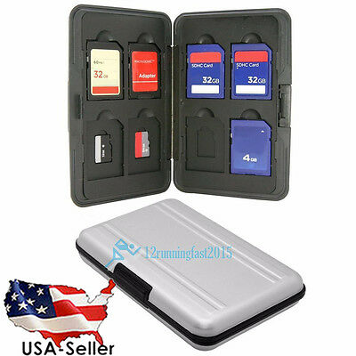16 Slots Aluminum 8x SD Micro SD Memory Card Protecter Box Storage Case Holder