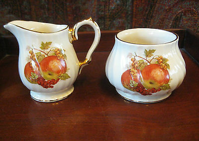 Vintage Sadler Gilded Cream And Sugar Harvest Pattern 3839