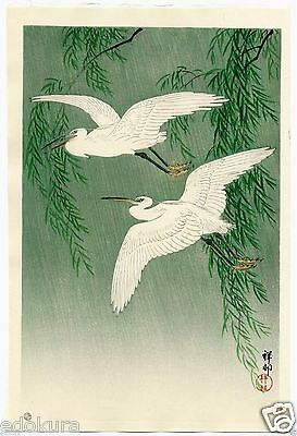 OHARA KOSON Shoson JAPANESE  Woodblock Print - White Herons and Willow in Rain