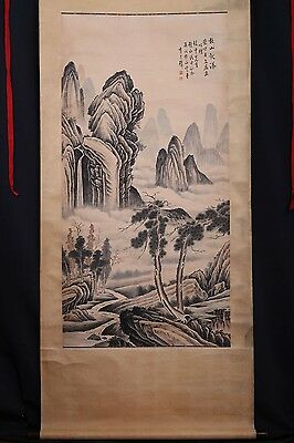 Very Long Old Chinese Scroll Hand Painting Landscape Marks PP163