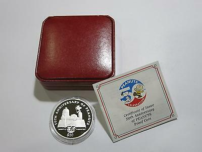 Niue 2000 $10 Silver Proof Peanuts Snoopy Deep Cameo World Coin Collection Lot Z