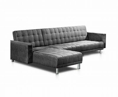 NEW 5 Seater Convertible Faux Linen Fabric Modular Sofa Lounge Chair Bed - Grey