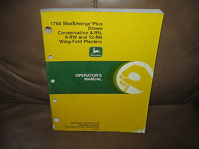 1760 MaxEmerge Plus Drawn Conservation Wing Fold Planters Operators Manual