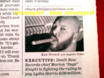 Suge Knight Death Row Records Vintage Gangsta Rap L.a. Times Article Collectable