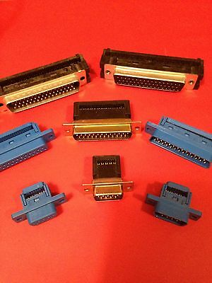 6 pieces 9-pin D-sub IDC connector for flat ribbon cable Blue Plastic