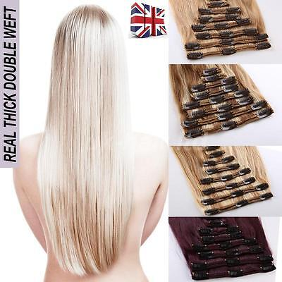 200G Double Weft 100%  Real Remy Clip In Human Hair Extensions Full Head UK E65