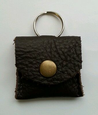 Real Brown Leather memory card holder/key ring . SD/micro sd adapter. With Stud