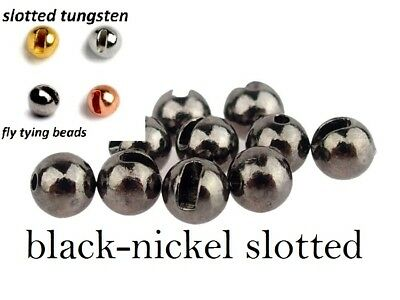 """czech nymph 10 olive SLOTTED TUNGSTEN 3.0mm 7//64/"""" fly tying beads metallic"""