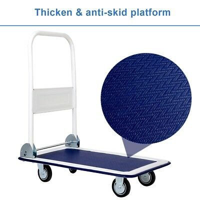330lbs Durable Platform Cart Dolly Folding Moving Warehouse Push Hand Truck