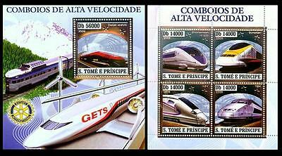 S.Tome MNH2SS,Silver,Embossed,Odd Stamps,Speed Trains,Eurostar,Wind Mills,Rotary