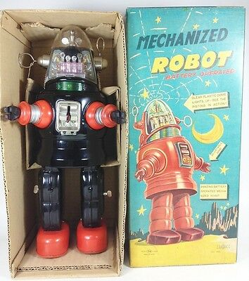 VINTAGE 1950 MECHANIZED ROBOT NOMURA BATTERY OPERATED Space Tin Walking JAPAN