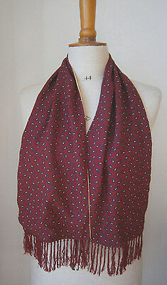 Vintage 1950's Tootal Scarf Burgundy & Yellow  Paisley Classic Chap