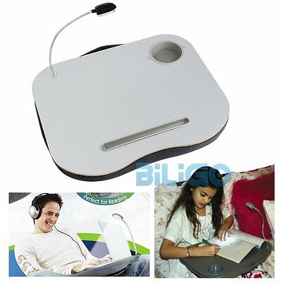 New Portable Cushioned Laptop Lap Desk Table with LED Lamp Light Cup Holder【AU】