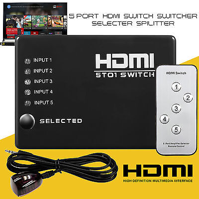 5 PORT HDMI Switch Selector Switcher Splitter Hub & IR Remote 1080p For PS3 HDTV
