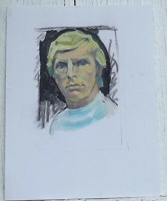 Bobby Moore original Oil painting Football Portrait Mexico 70 Collectors Card