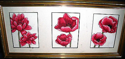 REDUCED! Three Poppies Finished / Completed Counted Cross Stitch Tryptich Framed