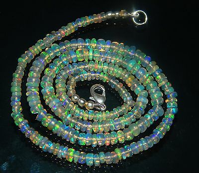 """On Sale 33.85 Ct Natural Rainbow Fire Ethiopian Opal 3-4 Mm Beads 17.5"""" Necklace"""