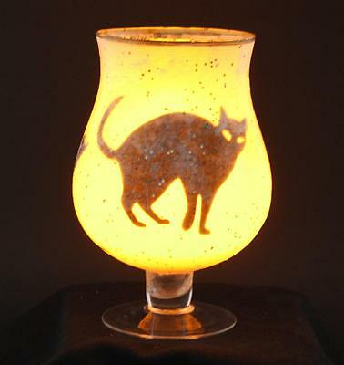 Cats in a Wine Glass Shadow Silhouette Glow Night Light Lantern Luminary