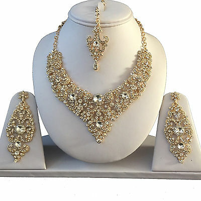 Clear Gold Indian Costume Jewellery Necklace Earrings Diamond Set Bridal New