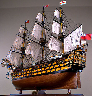 """HMS VICTORY 52"""" wood model ship large scale sailing tall British boat"""