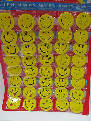 "Smiley Face 45mm 1¾"" Pin Badge Button Shop worker x 30 pcs Novelty badges"