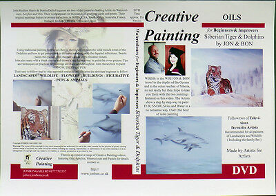 Wildlife Painting with Oil paints Siberian Tiger and Dolphins by Jon & Bon 2004