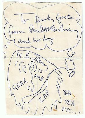 PAUL McCARTNEY AUTOGRAPH & DRAWING SIGNED ON MAGICAL MYSTERY TOUR BUS 67 BEATLES
