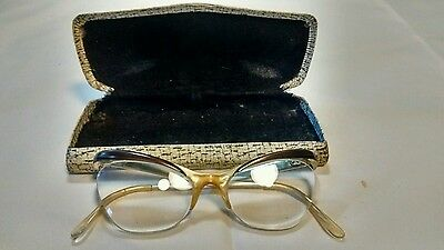Vintage Ladies Red & Gold Cat Eye Glasses and Case