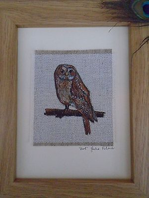 Original Handmade Owl Framed Textile Art Picture Hand-painted on linen fabric